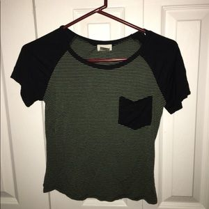 Tops - Green and black striped t-shirt